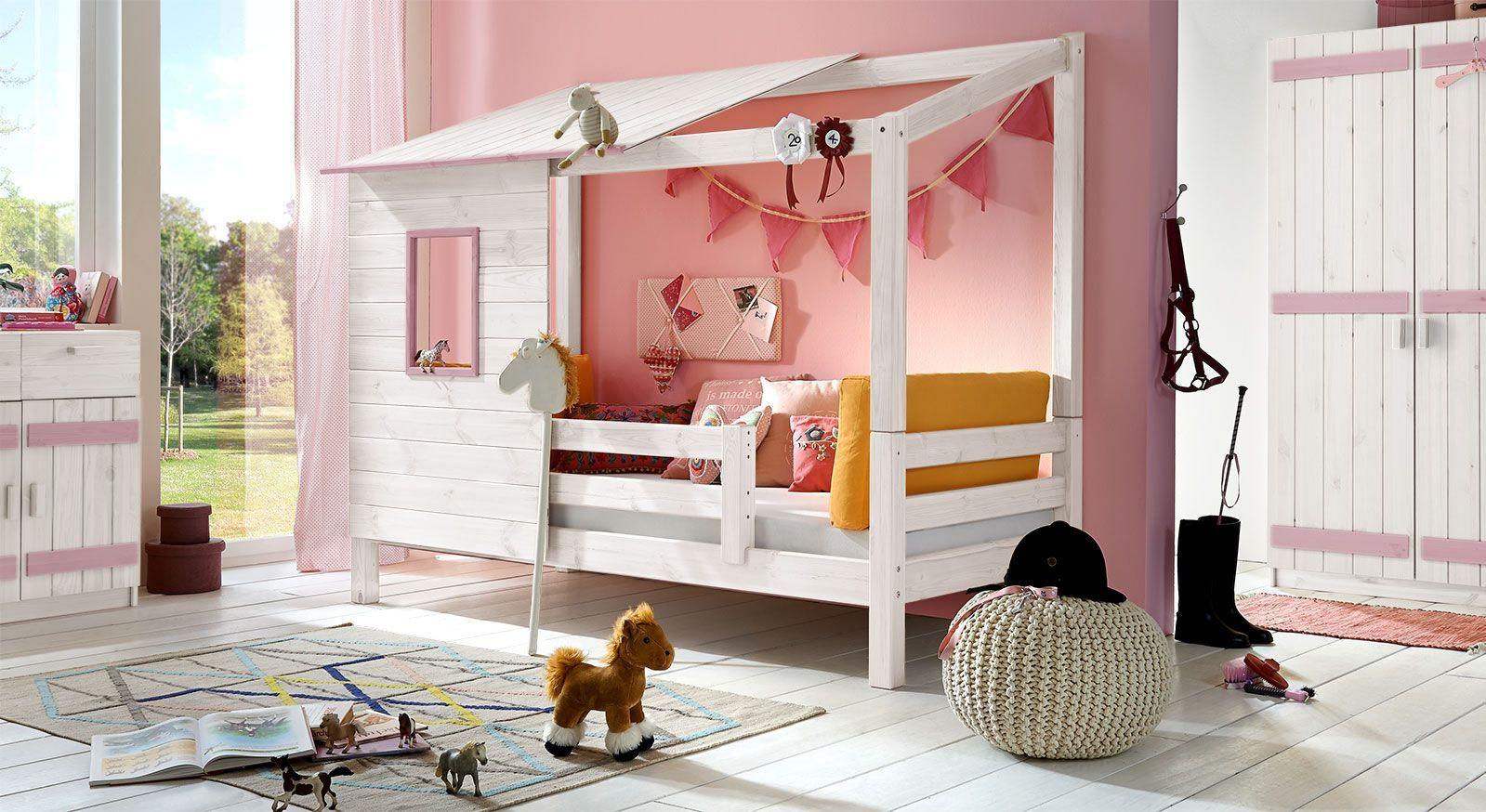 Abenteuer-Bett Kids Paradise für Mädchen in Kiefer, weiß mit Flieder