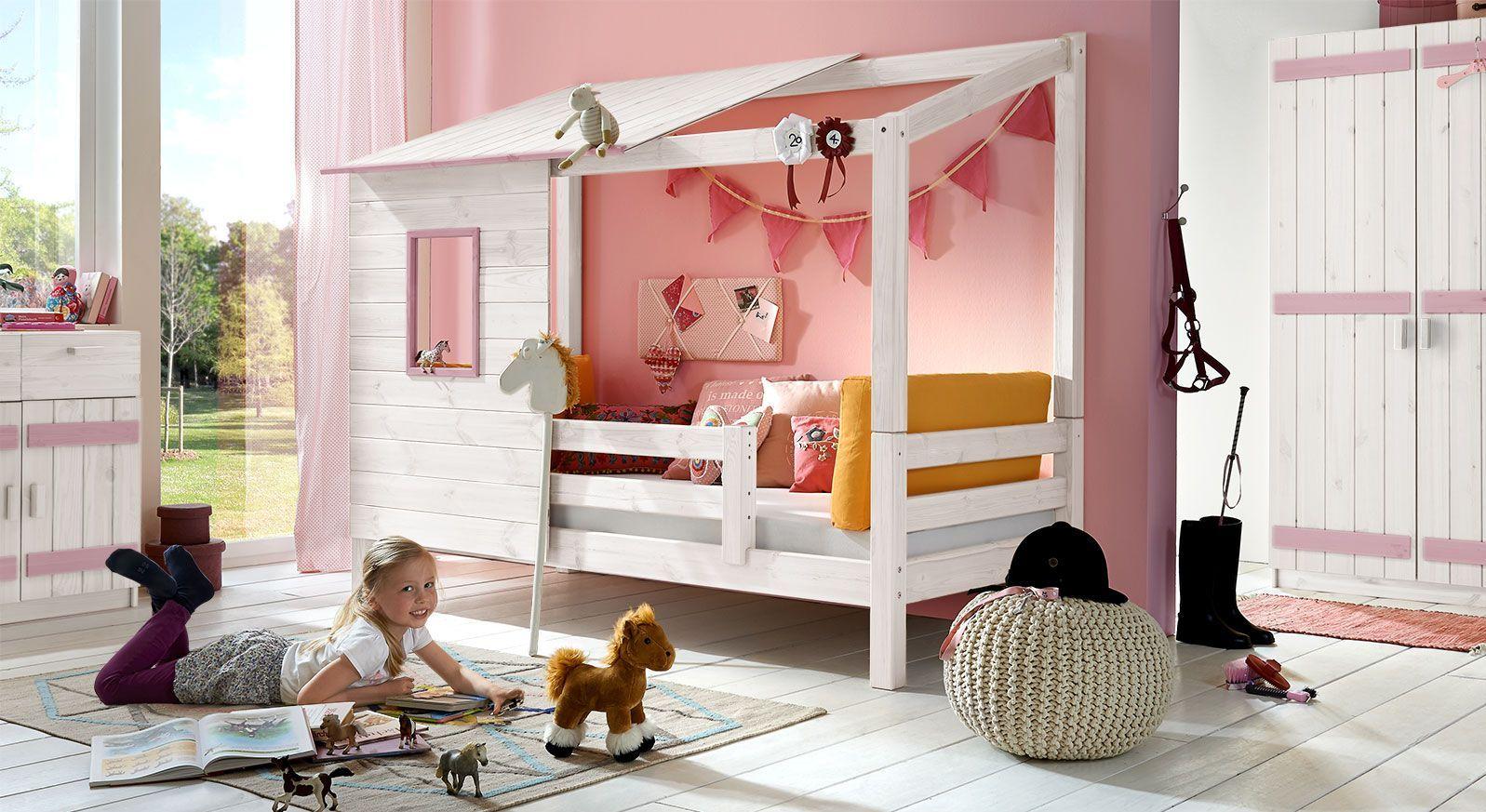 Abenteuer-Bett Kids Paradise für Mädchen in Weiß lasiert mit Flieder