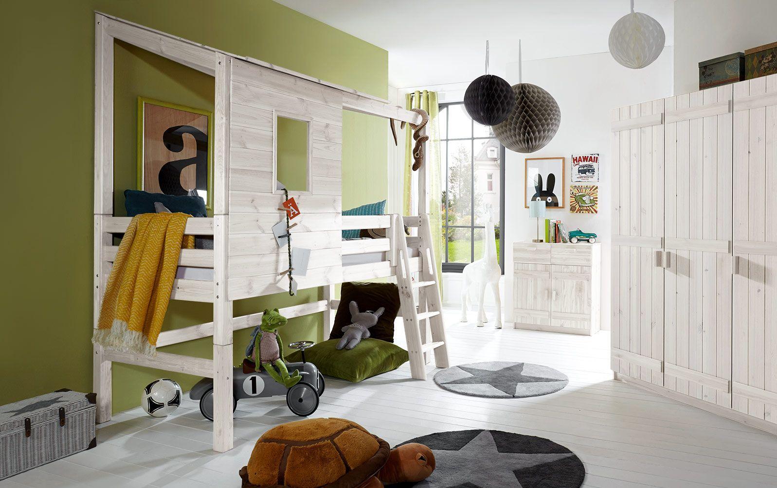 Abenteuer-Hochbett Kids Paradise aus lasierter Kiefer in 117 cm Bettrahmenhöhe