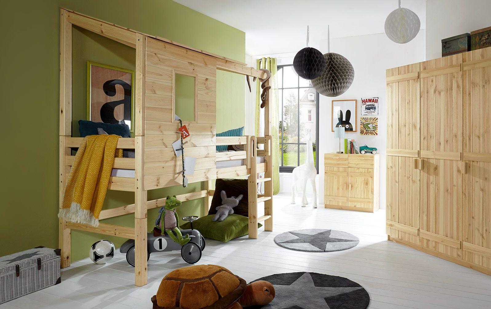 Abenteuer-Hochbett Kids Paradise in Natur, lackiert, mit gerader Leiter und 117cm