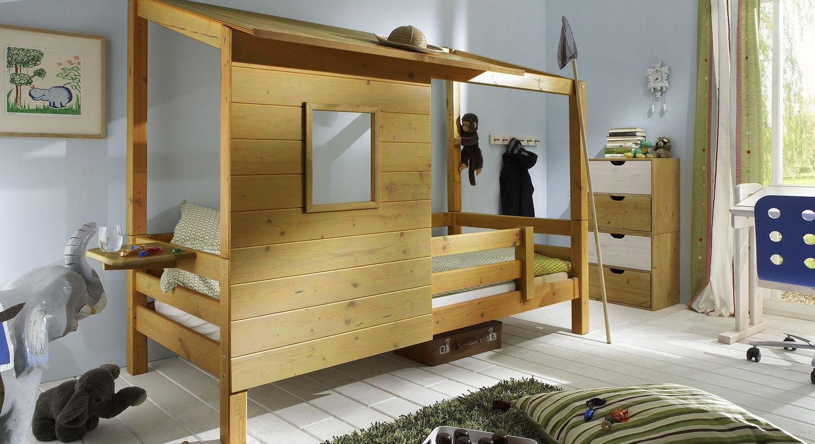 Abenteuerbett Kids Paradise in Kiefer gelaugt und geölt