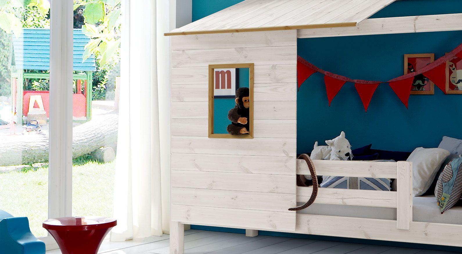 Weißes Abenteuerbett Kids Paradise mit Hütten-Aufsatz aus Kiefer