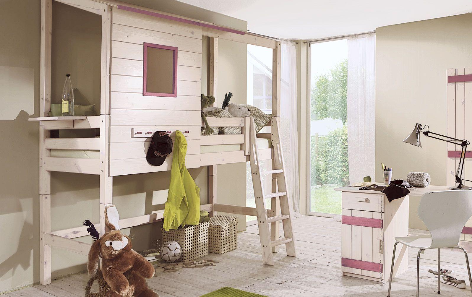 Abenteuer-Hochbett Kids Paradise aus Massivholz in weiß und flieder