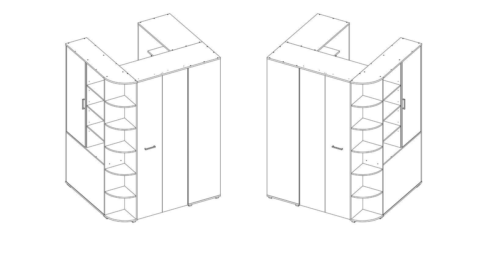 Aufbau Grafik zu den begehbaren Eck-Kleiderschränken