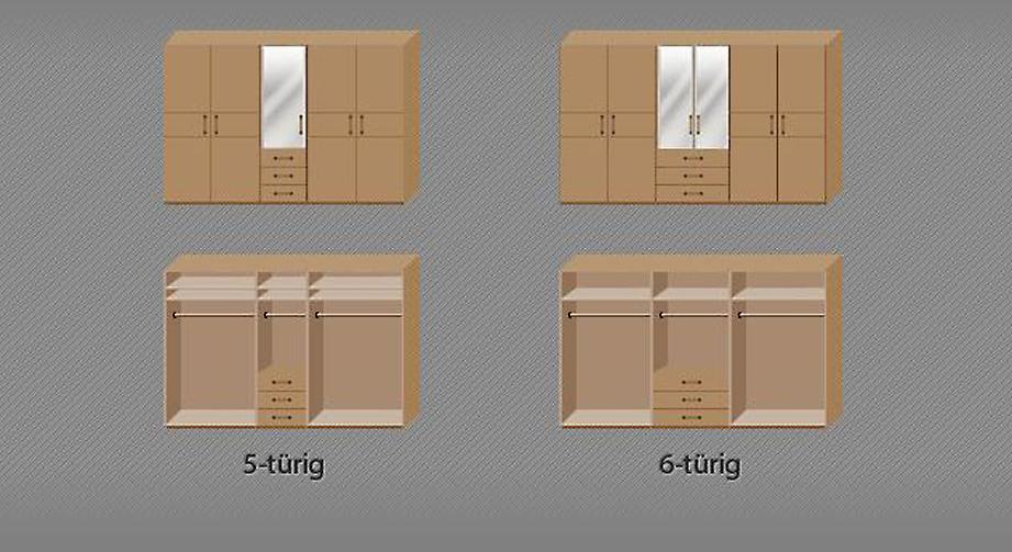 Aufteilung der Kleiderstangen und Einlegeböden des Funktions-Kleiderschranks Sanando
