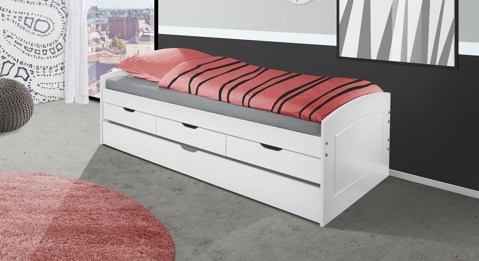 Modernes Ausziehbett Nouna in Weiß