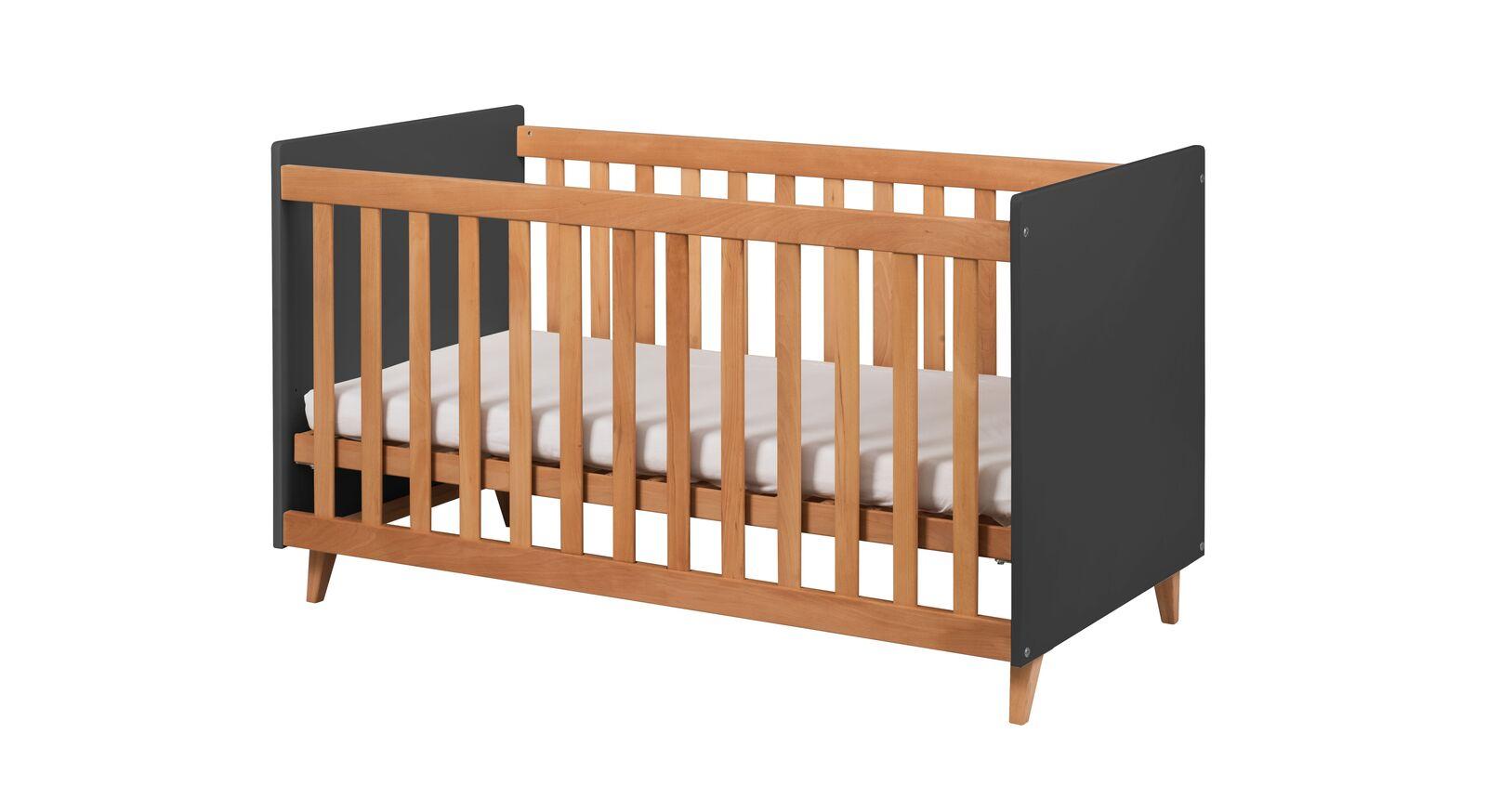 Babybett Kids Nordic aus anthrazitfarbenem Dekor