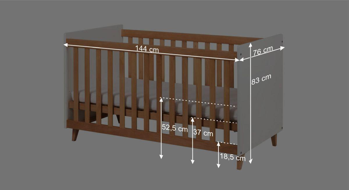 Bemaßungsgrafik zum Babybett Kids Nordic