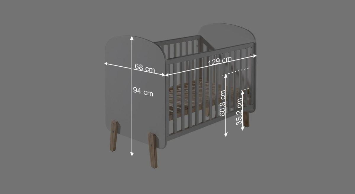 Bemaßungsgrafik zum Babybett Maila