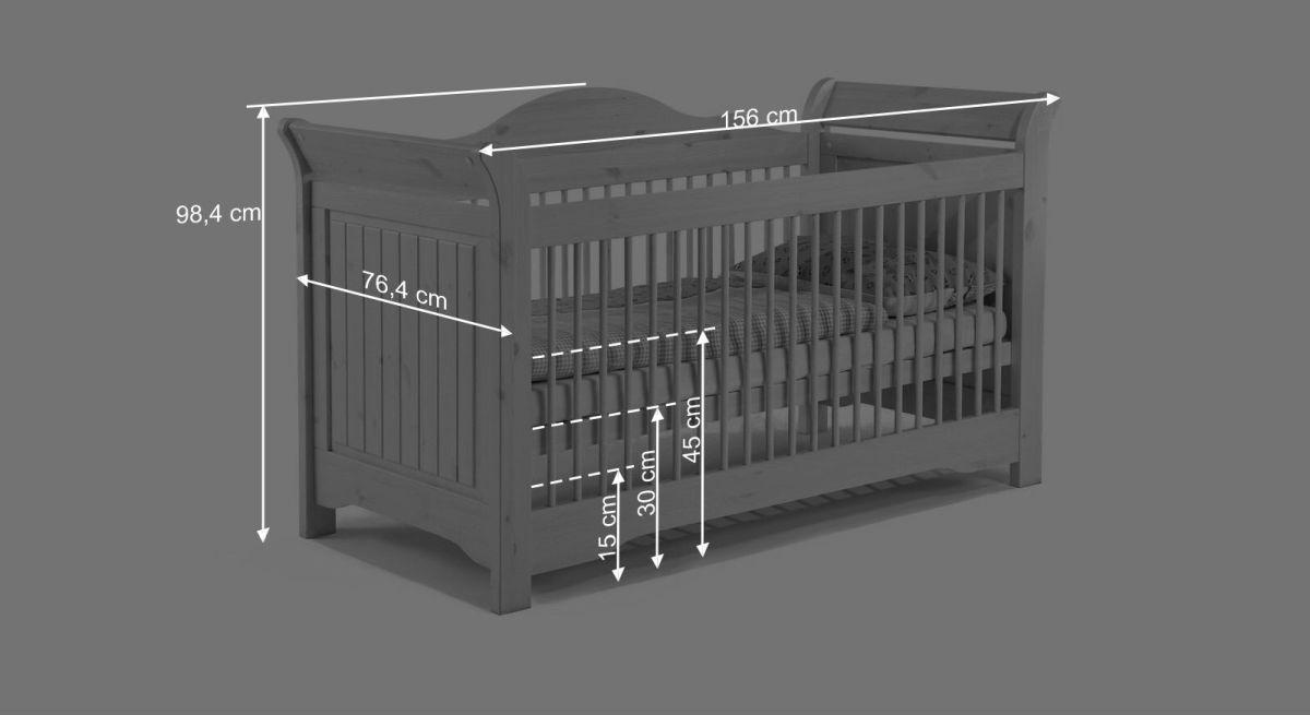 Bemaßungsgrafik zum Babybett Nela