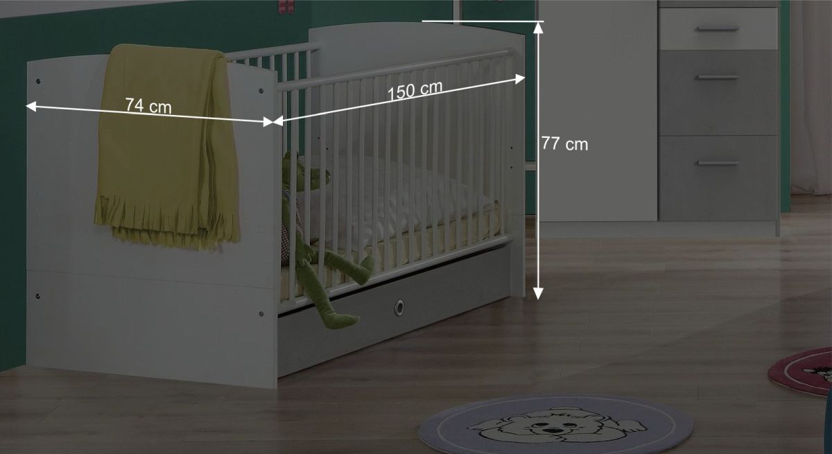 Maßgrafik zum Babybett Porvenir