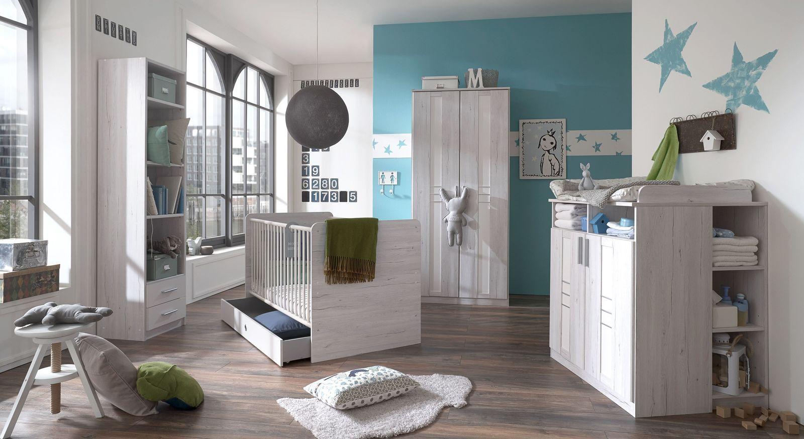 Kindgerechtes Babyzimmer Carlino in Weißeiche Dekor
