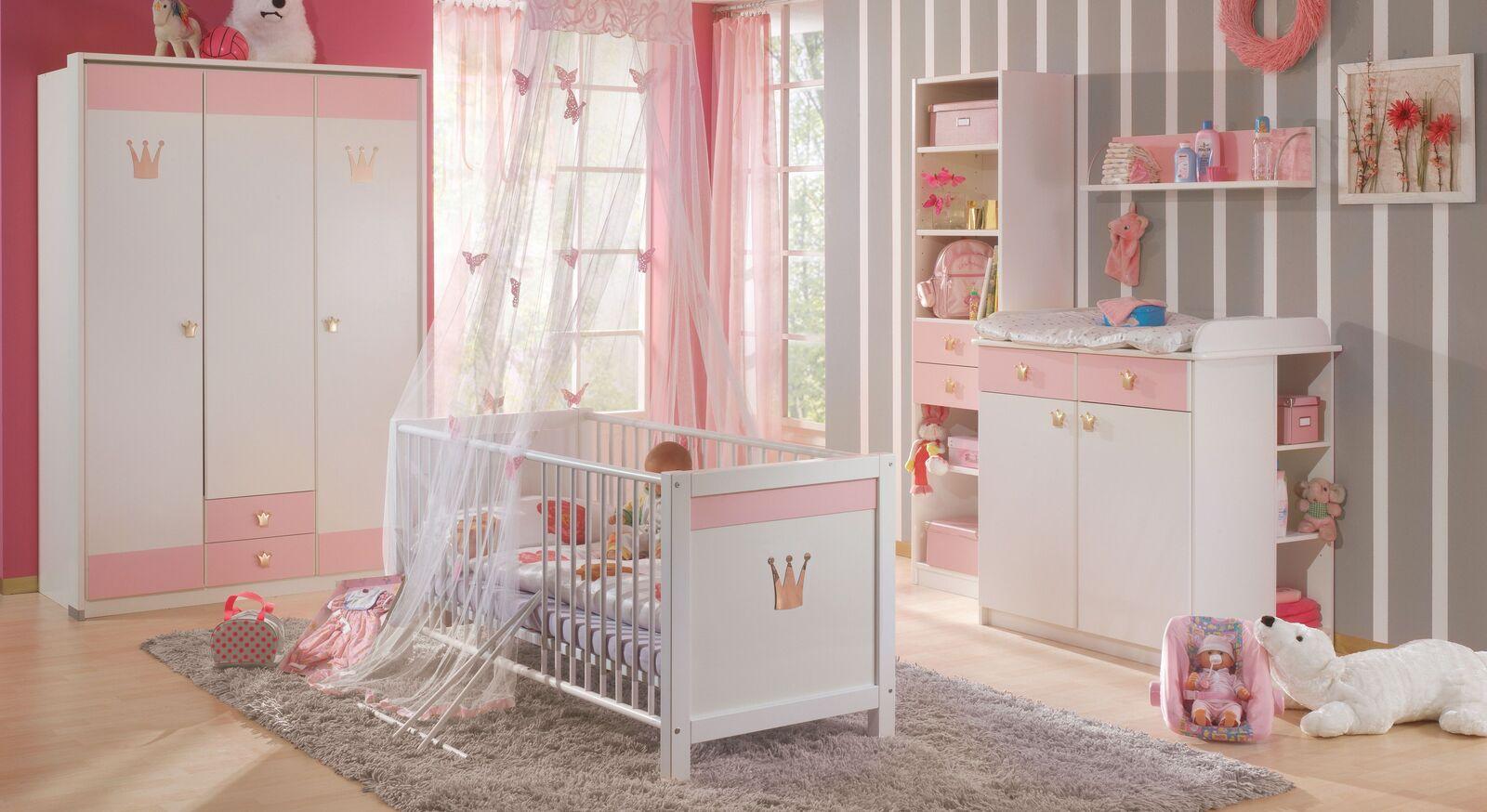 kinder kleiderschrank f r m dchen in wei ros und gold. Black Bedroom Furniture Sets. Home Design Ideas