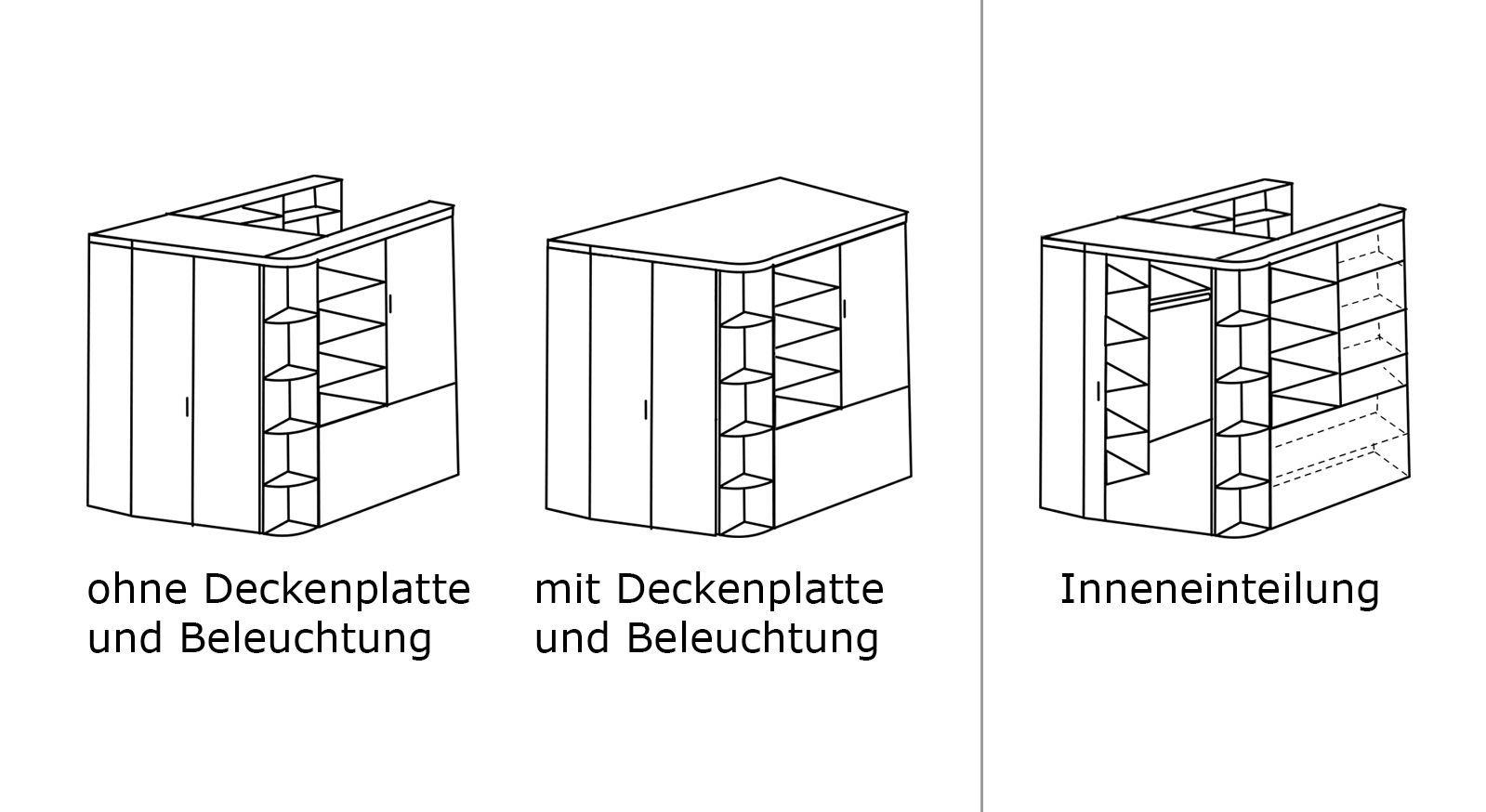 Grafik zu den Varianten und der Inneneinteilung des begehbaren Eck-Kleiderschranks