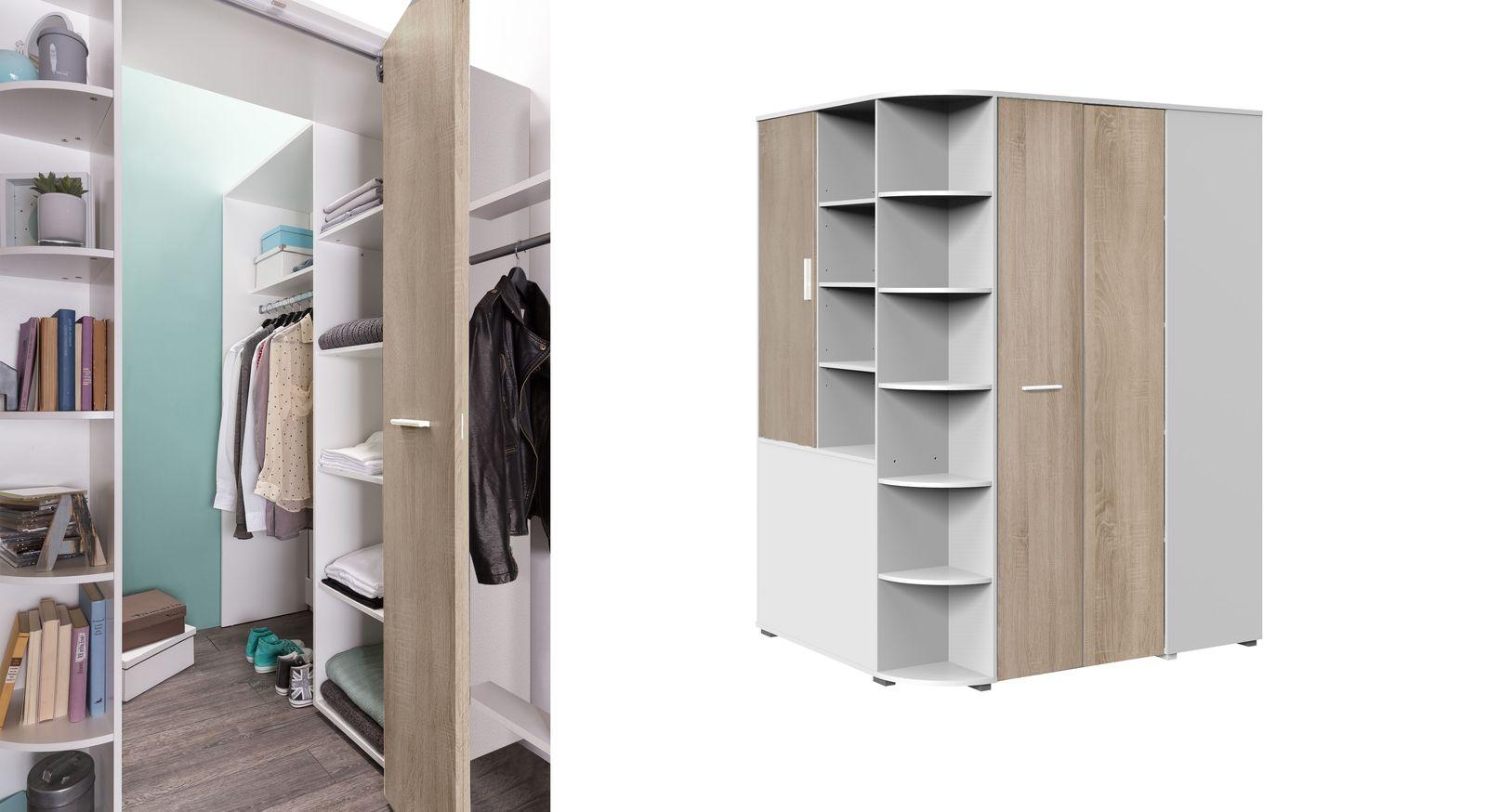 Begehbarer Eck-Kleiderschrank Solero mit klappbarer Tür