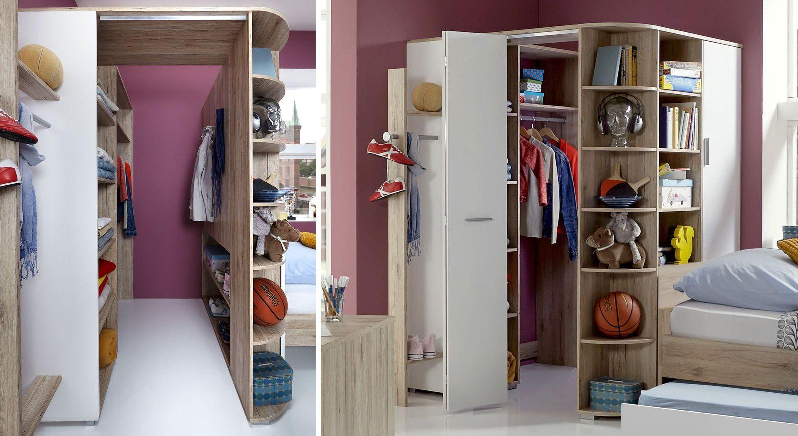 Begehbarer Eck-Kleiderschrank Zagra praktisch fürs Kinderzimmer