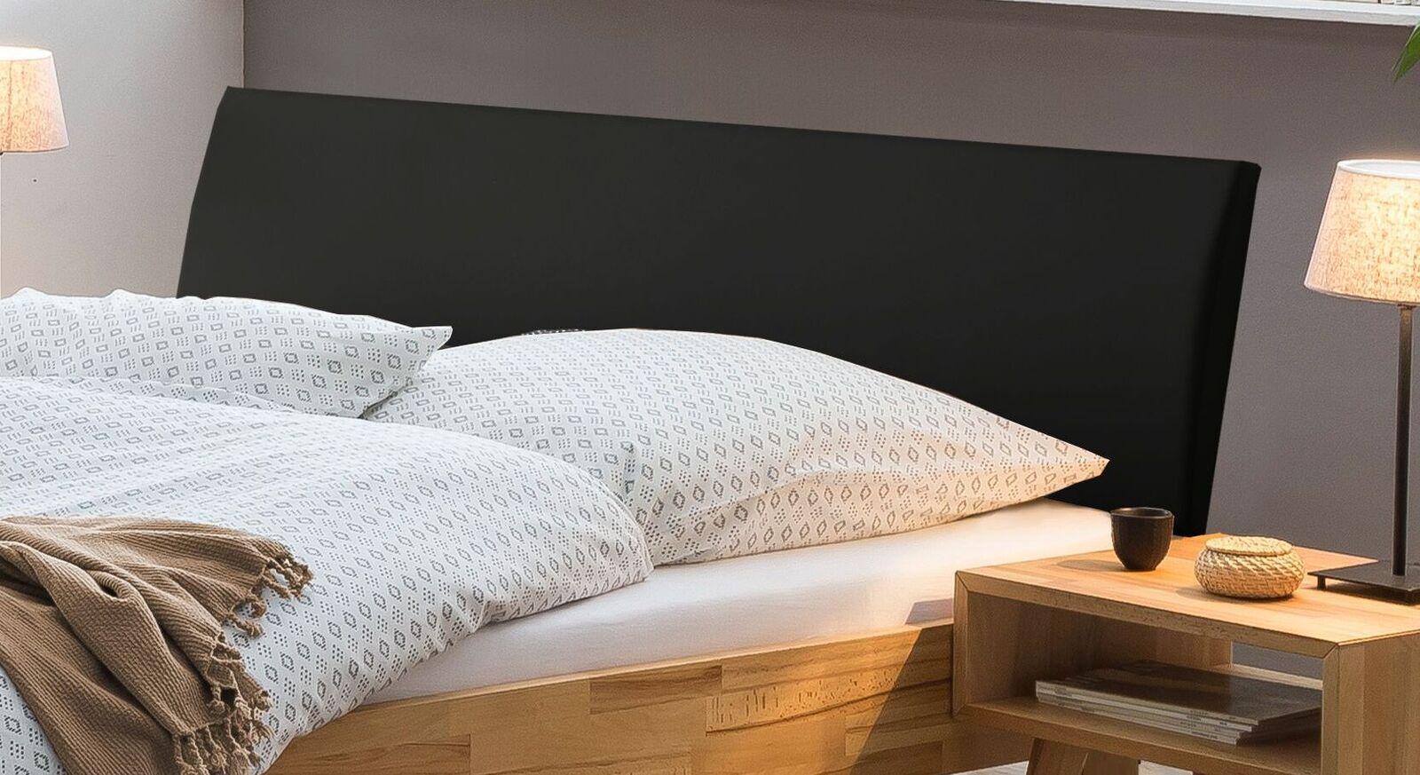 Bett Amsden mit Kopfteil aus schwarzem Kunstleder