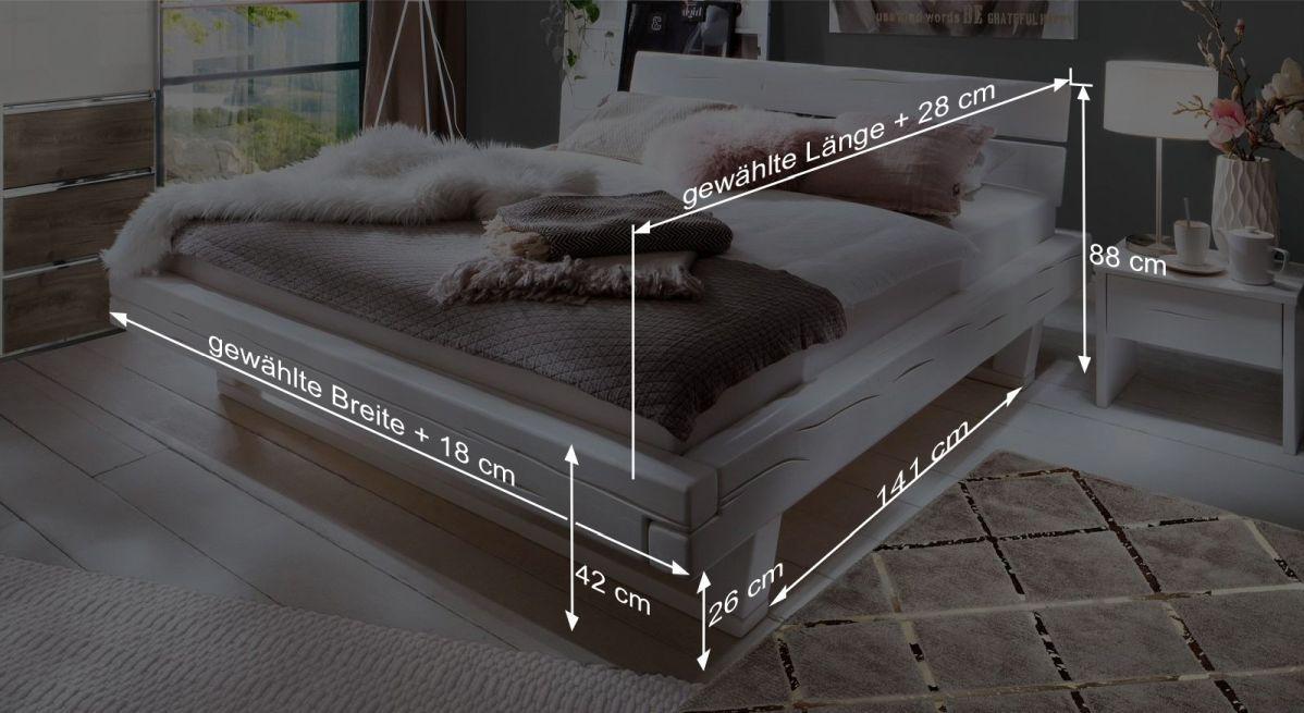 Bemaßungsgrafik zum Bett Arnara