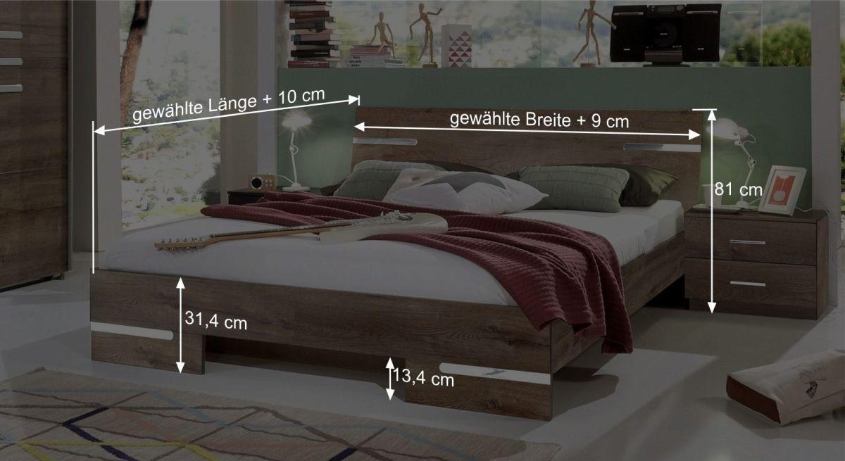 Bemaßungsgrafik vom Bett Avello
