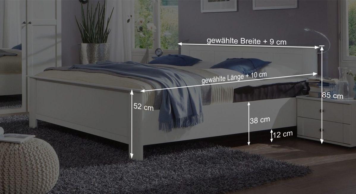 Bemaßungsgrafik zum Bett Berata