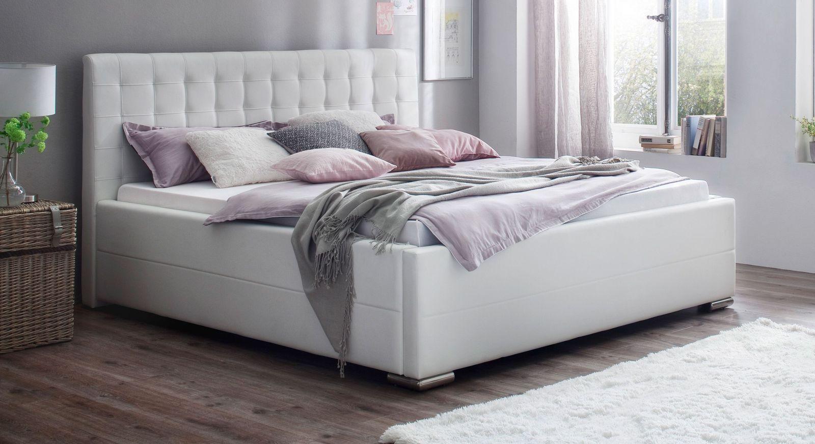 Preiswertes Bett Boretto aus weißem Kunstleder