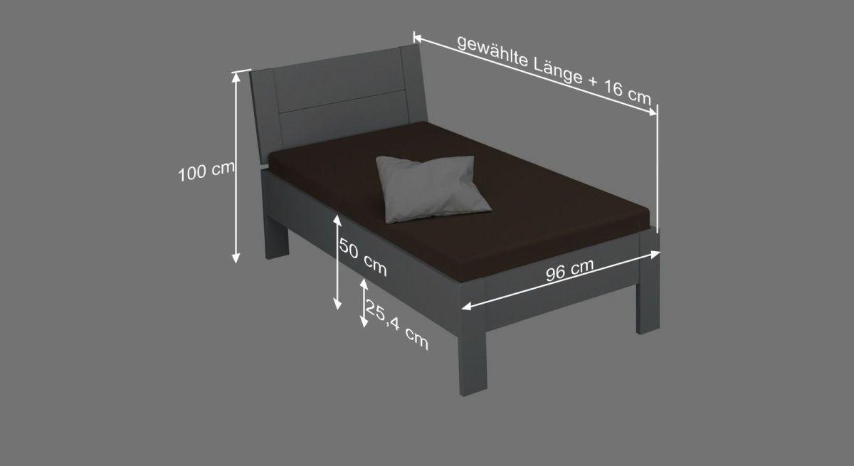 Bemaßungsgrafik zum Bett Burana