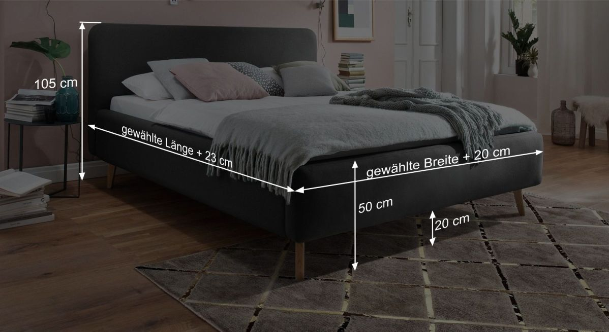 Bemaßungsgrafik zum Bett Carballo