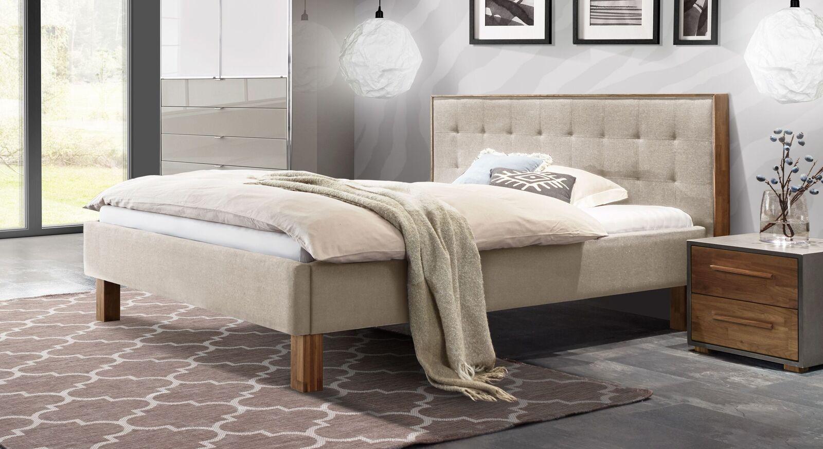 Bett Cassian aus beigem Classic Webstoff