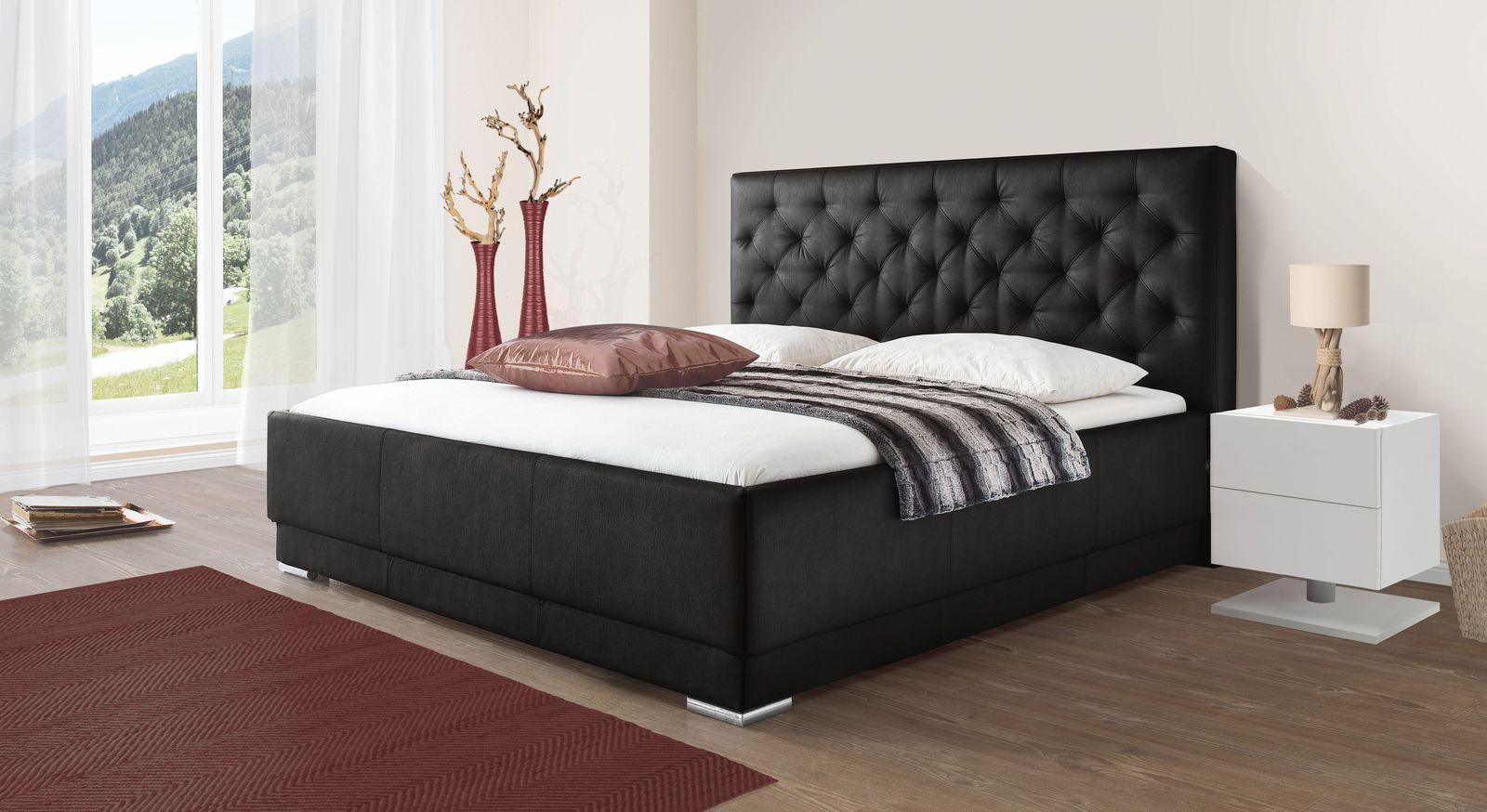Bett Castletown mit schwarzem Kunstlederbezug