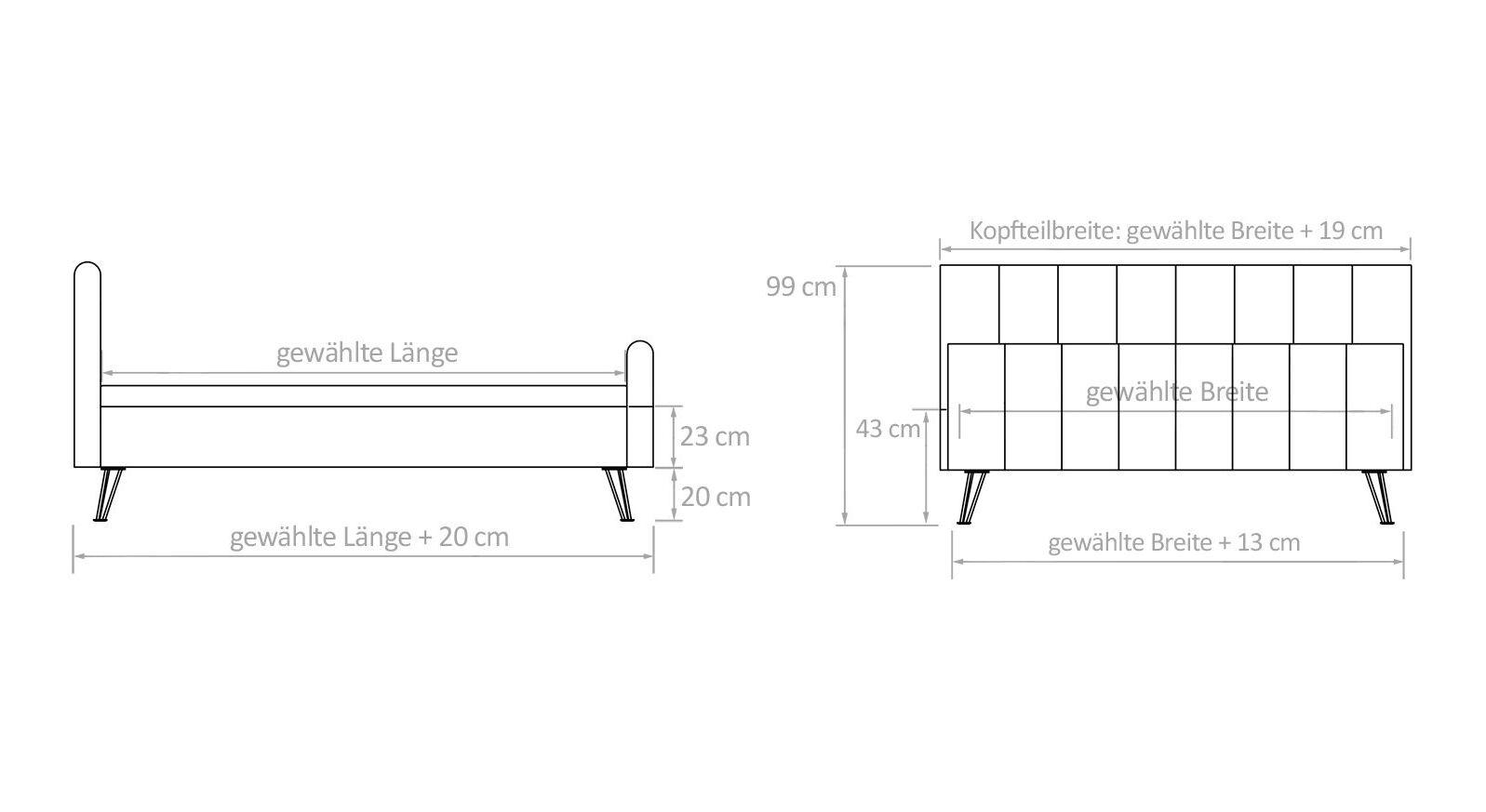 Infograifk zu den Maßangaben vom Bett Celica