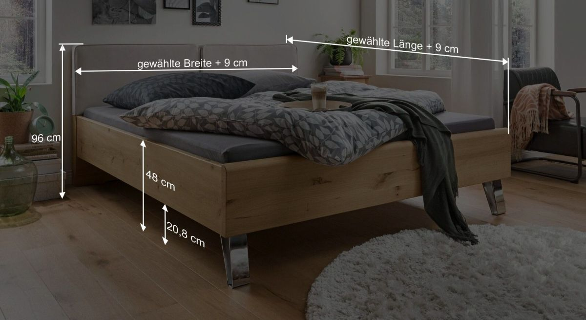 Bemaßungsgrafik zum Bett Corato