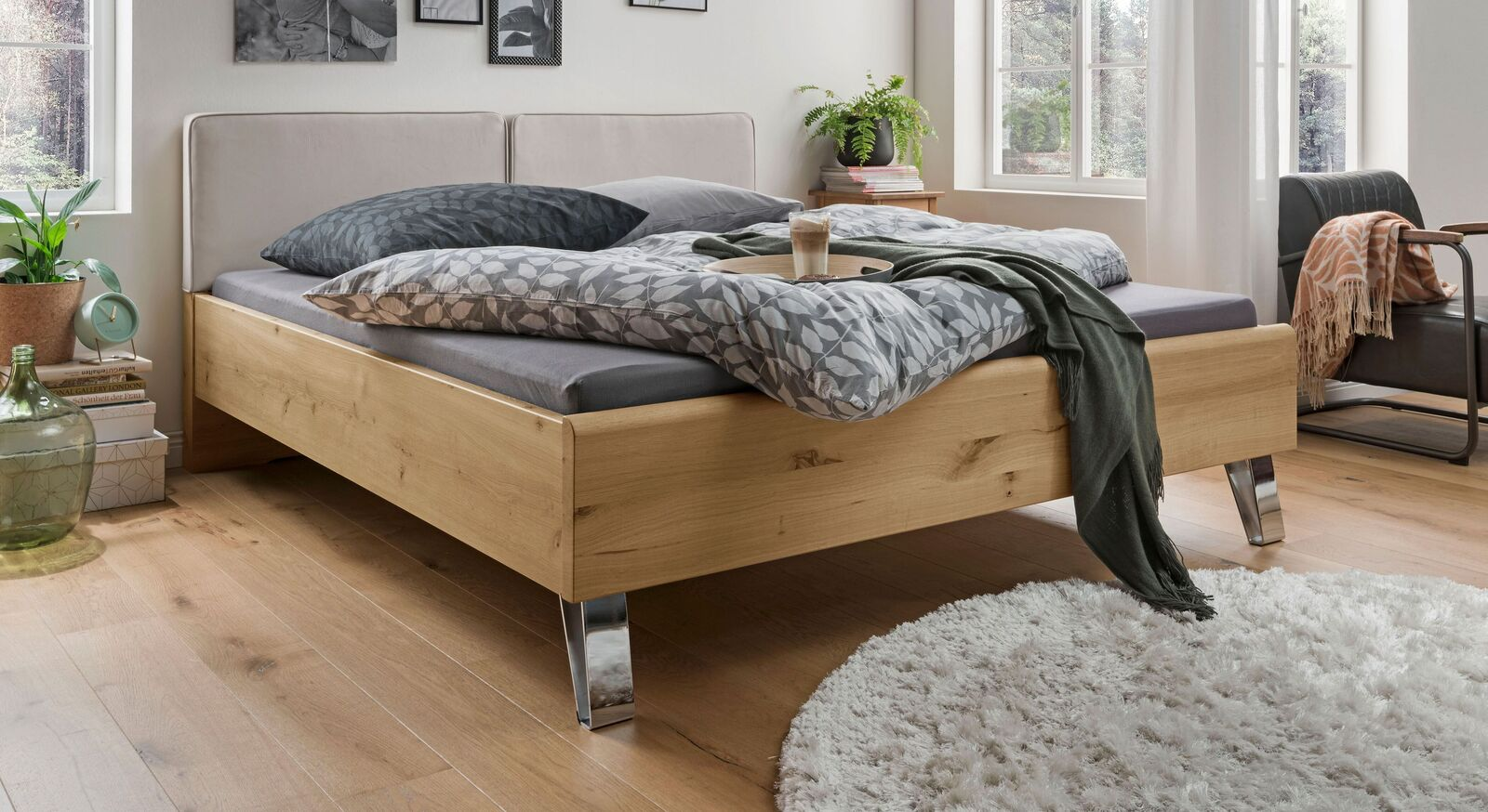 Bett Corato aus Eiche bianco