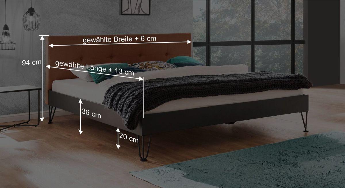 Bemaßungsgrafik zum Bett Dobra