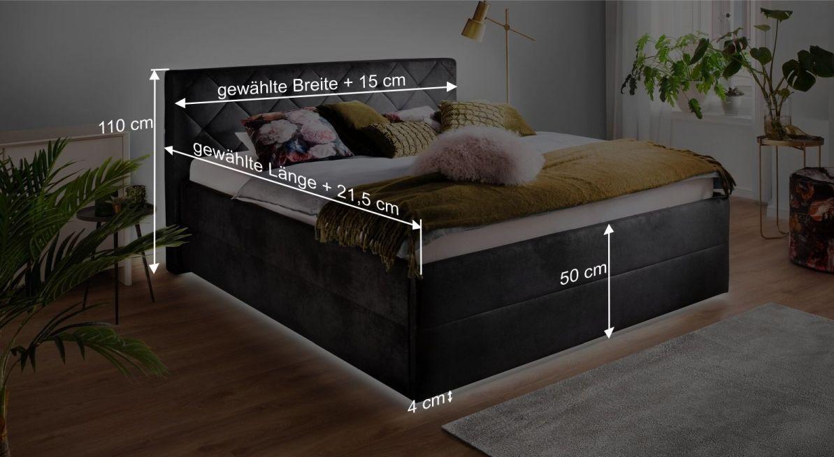 Bemaßungsgrafik zum Bett Fambo