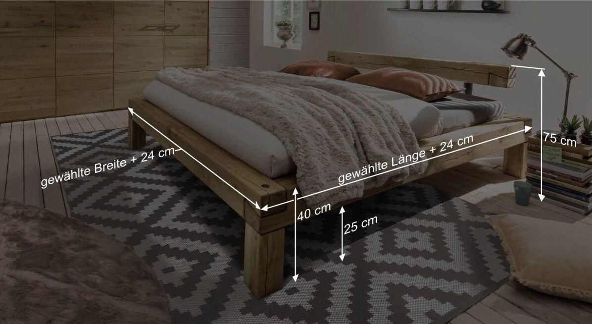 Bemaßungsgrafik zum Bett Feist