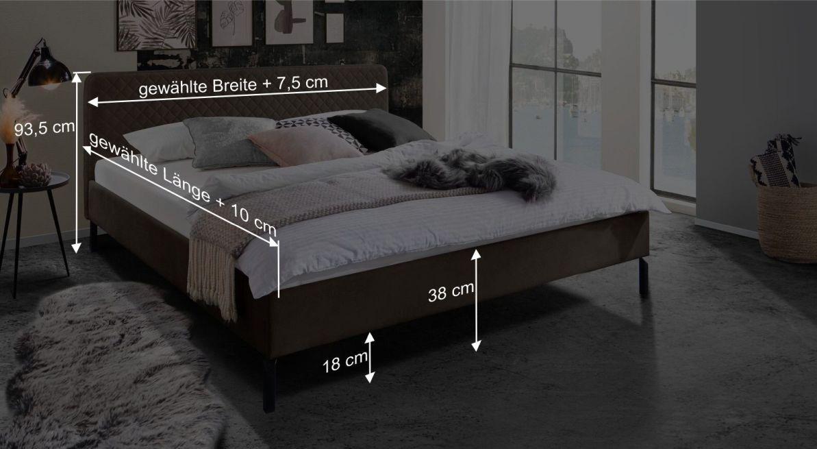 Bemaßungsgrafik zum Bett Gitega