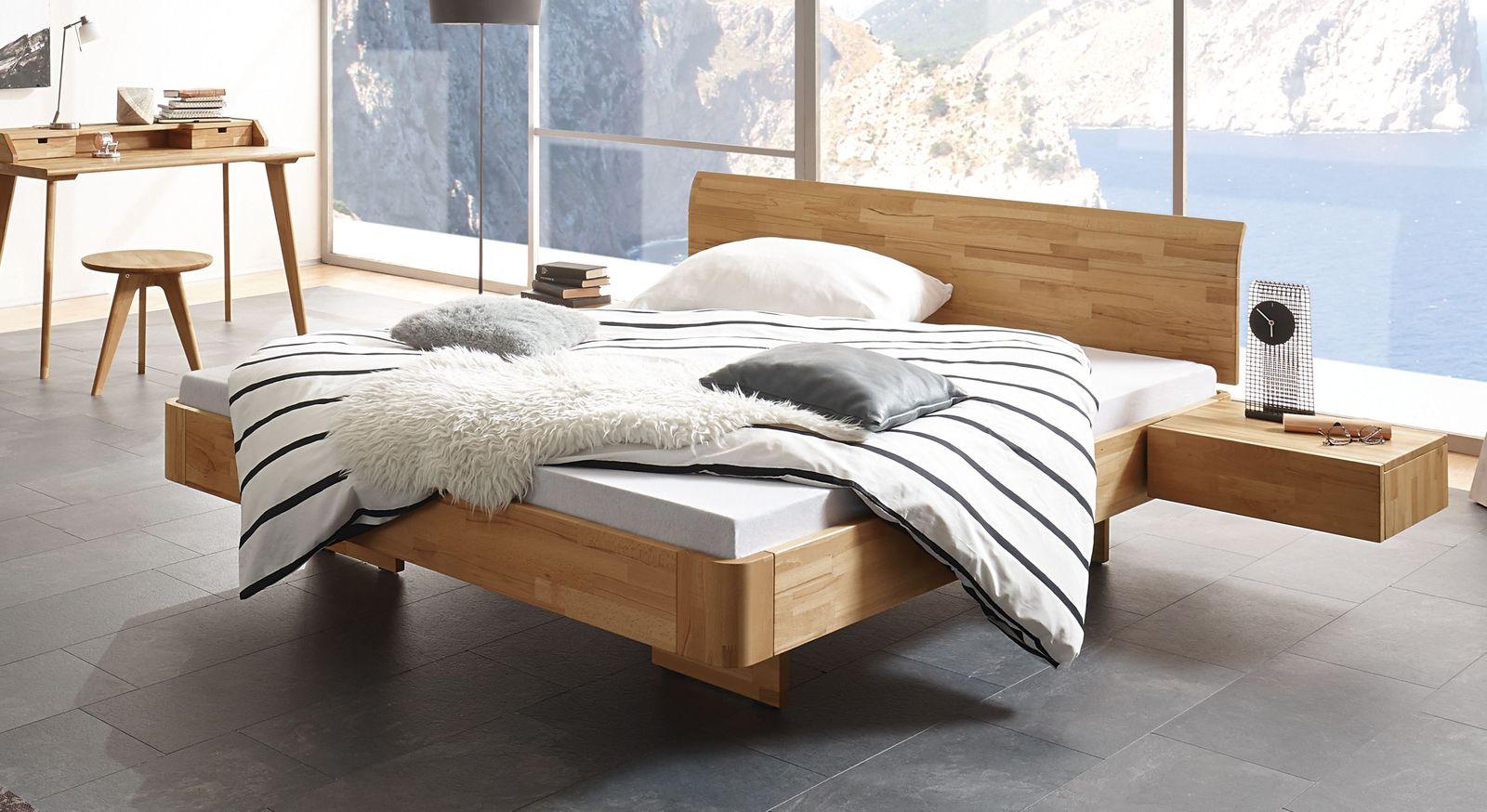 Modernes Holzbett Grevena in Schwebeoptik