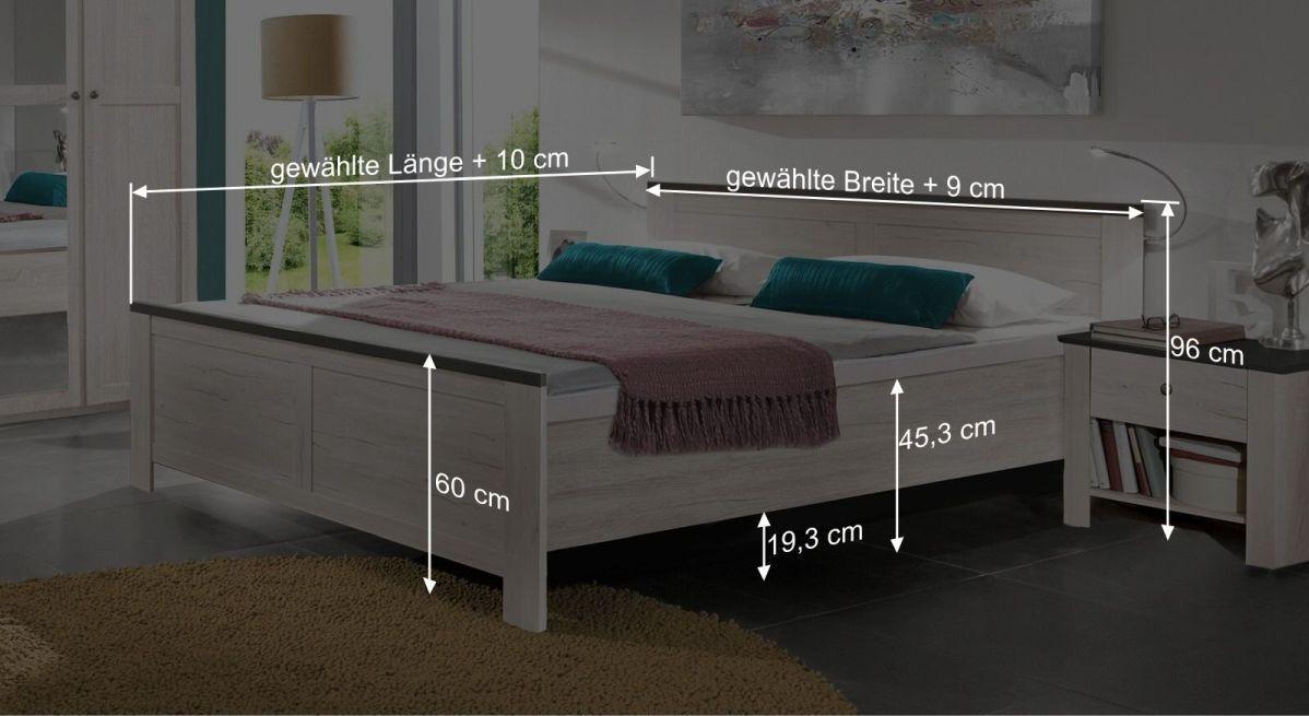 Bemaßungsgrafik zum Bett Grom
