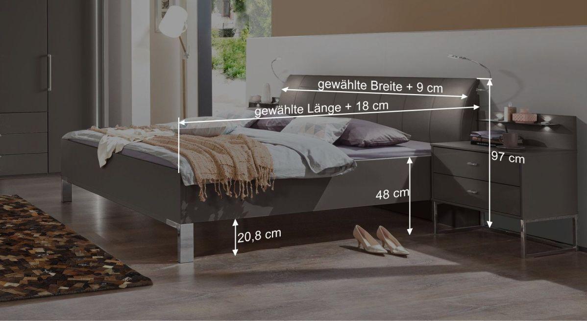 Bemaßungsgrafik zum Bett Harrow
