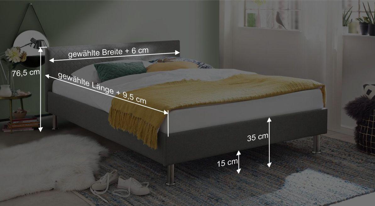 Bemaßungsgrafik zum Bett Hime