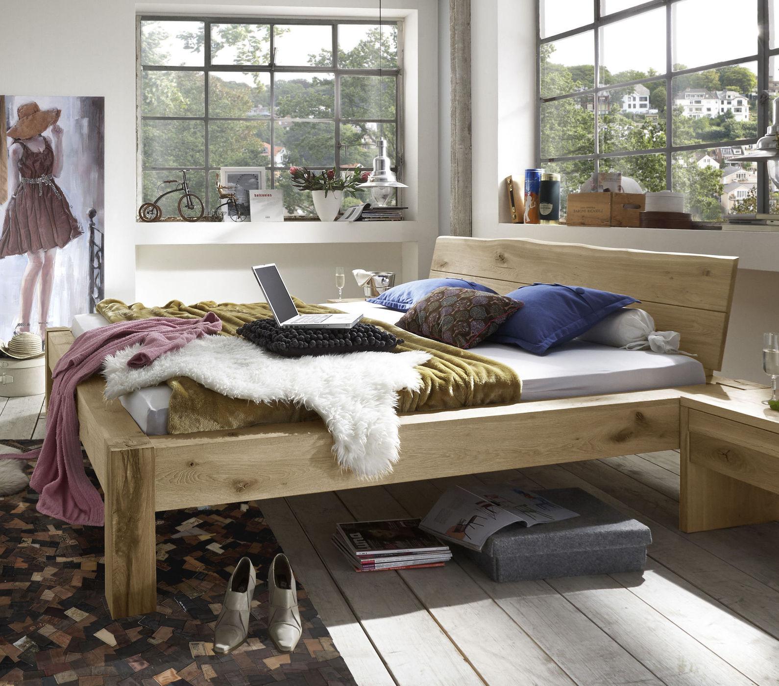 Bett Aus Massivholz Wildeiche Geolt In Rustikalem Design Imst