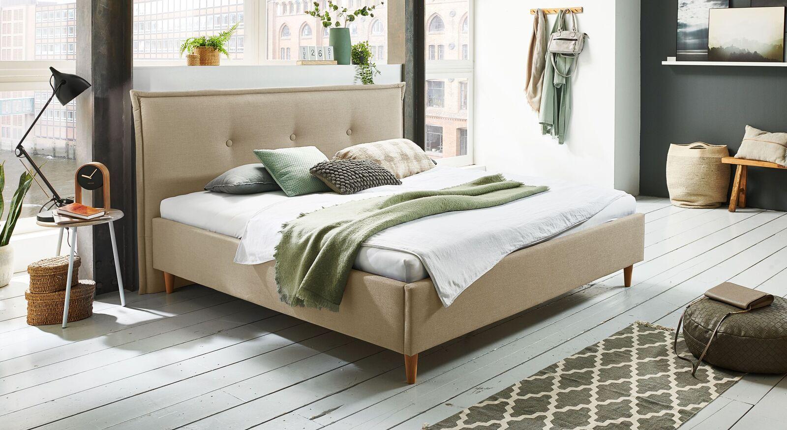 Bett Indore mit hochwertigem Webstoff in Natur