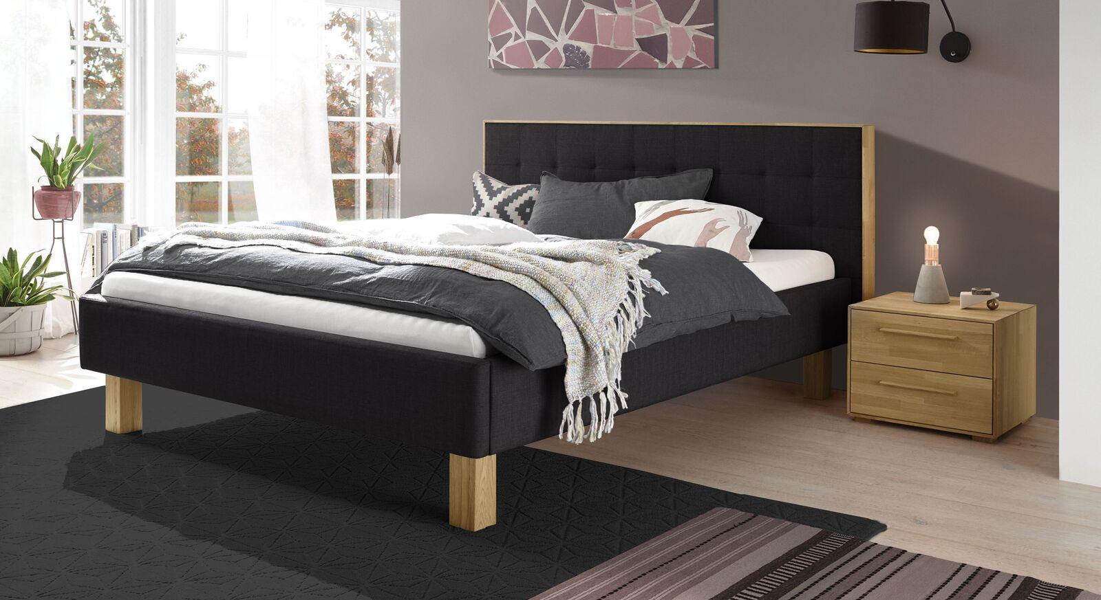 Bett Kadira aus anthrazitfarbenem Webstoff