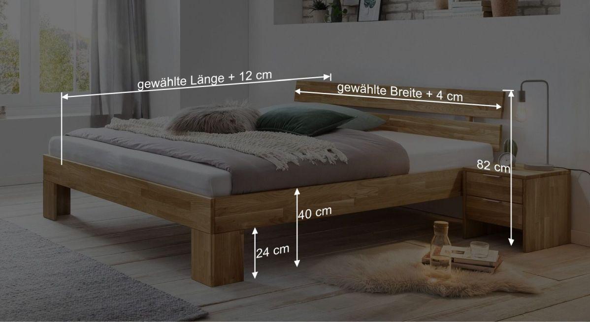 Bemaßungsgrafik zum Bett Kanata