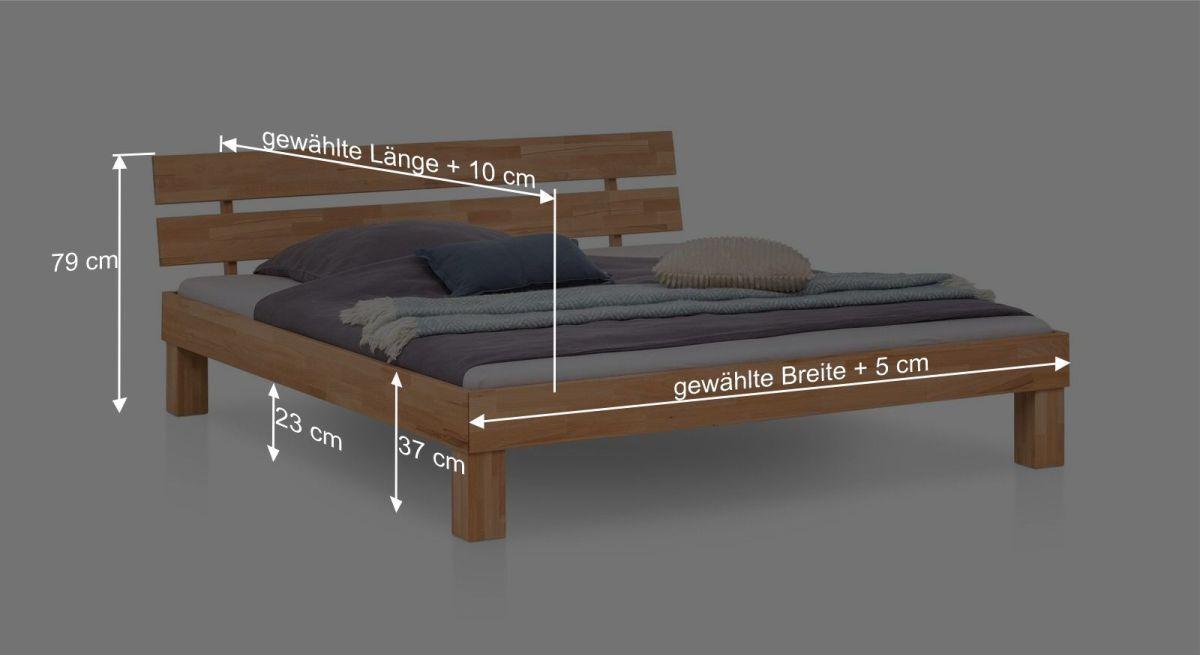 Bemaßungsgrafik zum Bett Kasseris