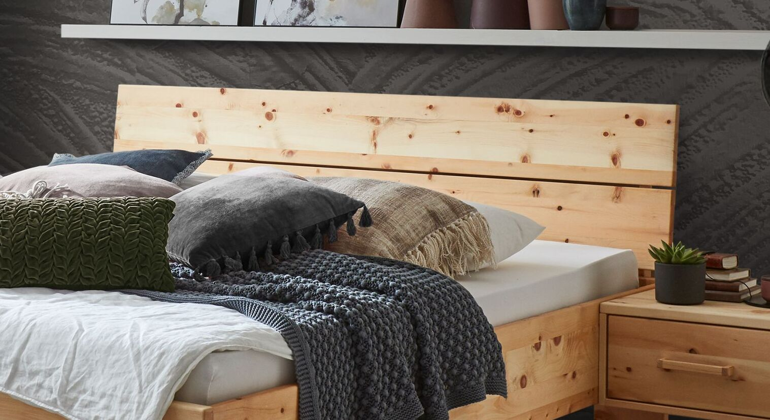 Bett Lautaro mit zweiteiligem Holzkopfteil