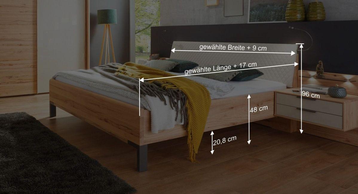 Bemaßungsgrafik zum Bett Leandra