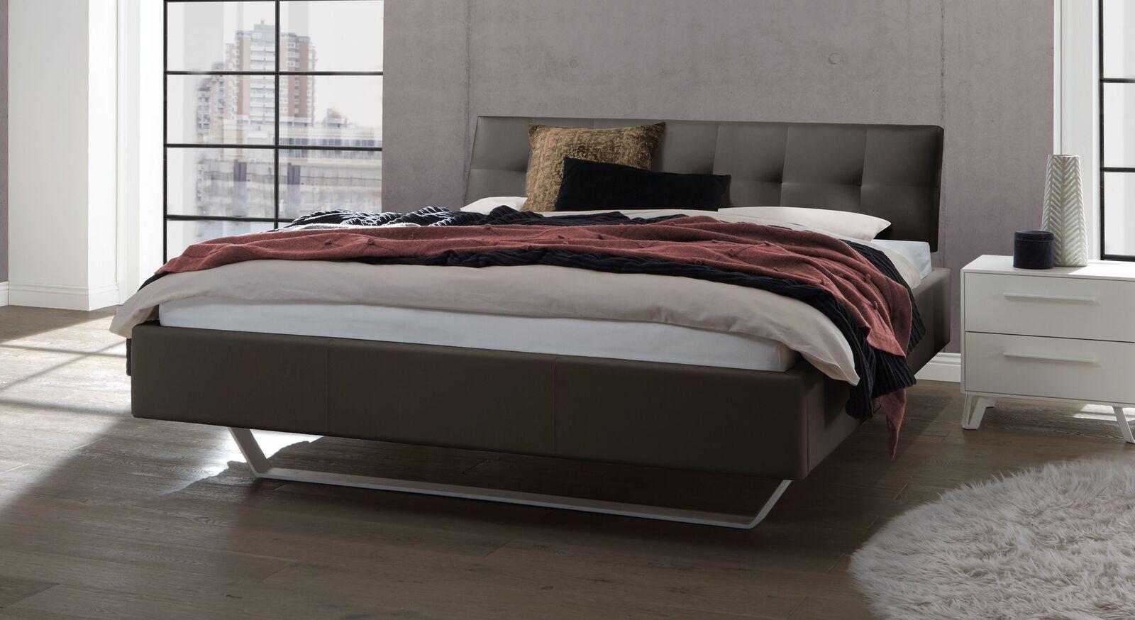 Bett Liene aus Echtleder in Dunkelgrau