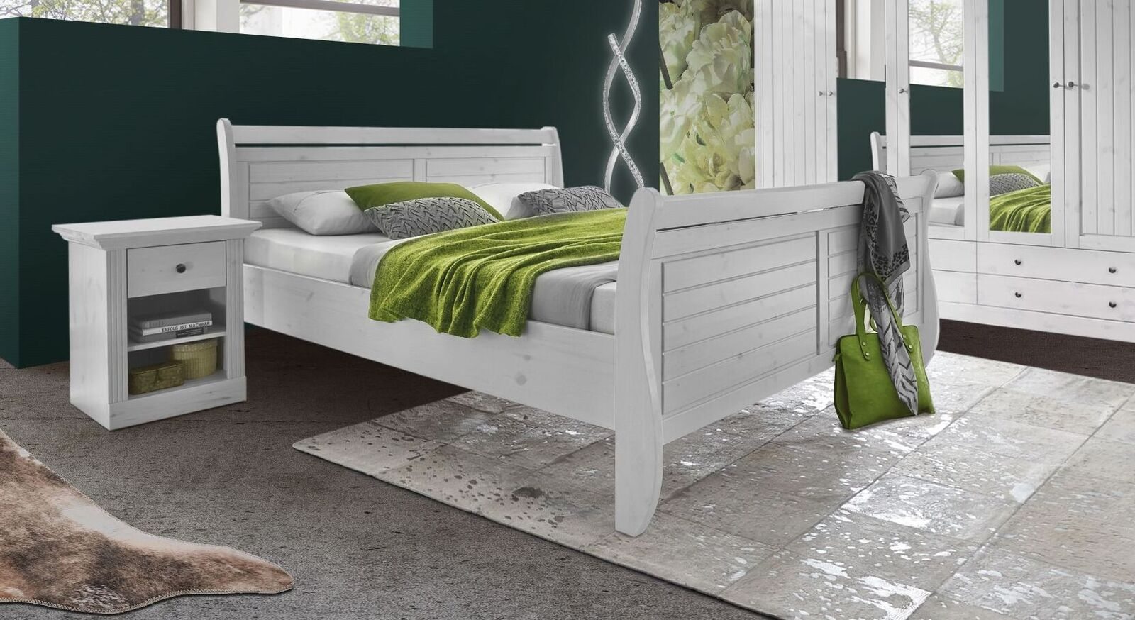 Weißes Bett Liska inklusive Fußteil
