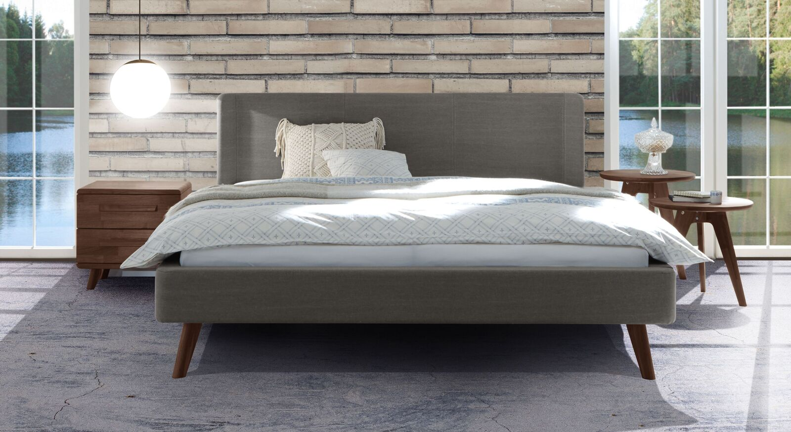 Modernes Bett Lovisa mit grauem Stoffbezug